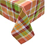 """Fall Together Bright Orange Green Red Plaid Fabric Tablecloth (60"""" x 84"""" Oblong, Warm Colors)"""