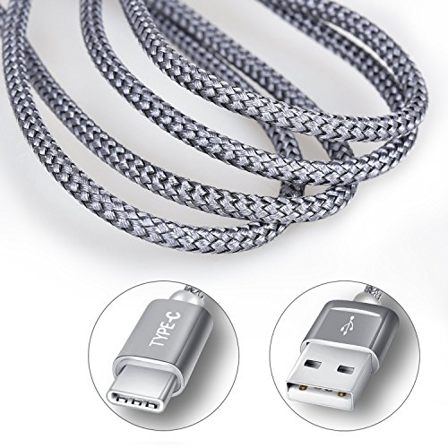 Large Product Image of USB Type C Cable, Snowkids USB C Cable 6.6Ft(2-PACK) Nylon Braided Long Cord USB Type A to C Fast Charger for Macbook, LG G6 V20 G5,Google Pixel, Nexus 6P 5X, Nintendo Switch, Samsung Galaxy S8+(Grey)