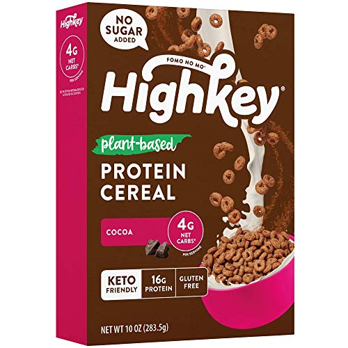 HighKey Plant Based Protein Cereal – Keto Breakfast Low Net Carb & Zero Sugar Low Carb Snacks Gluten Free Foods Vegan Cold Cereals Paleo Snack Ketogenic Diet Friendly Muesli Cocoa