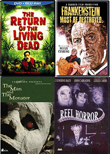 Community is terrorized Reel Horror 4 Movie Pack Return of the Living Dead + Frankenstein Monster Must Be Destroyed Hammer Film / Man and the Monster Jekyll and Mr. Hyde story DVD Weird Classics -