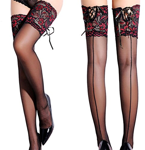 Women Silicone Stay Up Thigh High Stockings Sexy Back Seam & Lace Top Stockings (One Size, Black/Red Lace - Thigh Top Seam Lace High