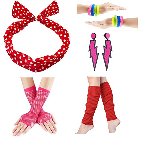 officematters 80s Fancy Outfit Costume accessories Set,Leg Warmers,Fishnet Gloves,Earrings, Headband, Bracelet and Beads (Onesize, N22)