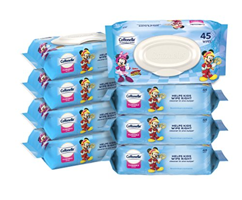 Cottonelle Flushable Wipes for Kids, 8 Flip-Top Packs, 360 Wet Wipes in Disney packaging