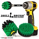 #3: Kitchen Cleaning Brushes for Drill Kit with Long Reach Attachment. Three Piece Medium Power Scrub Brush Set for Sink, Counter Tops, Stove, Pots and Pans, Oven, and Flooring.