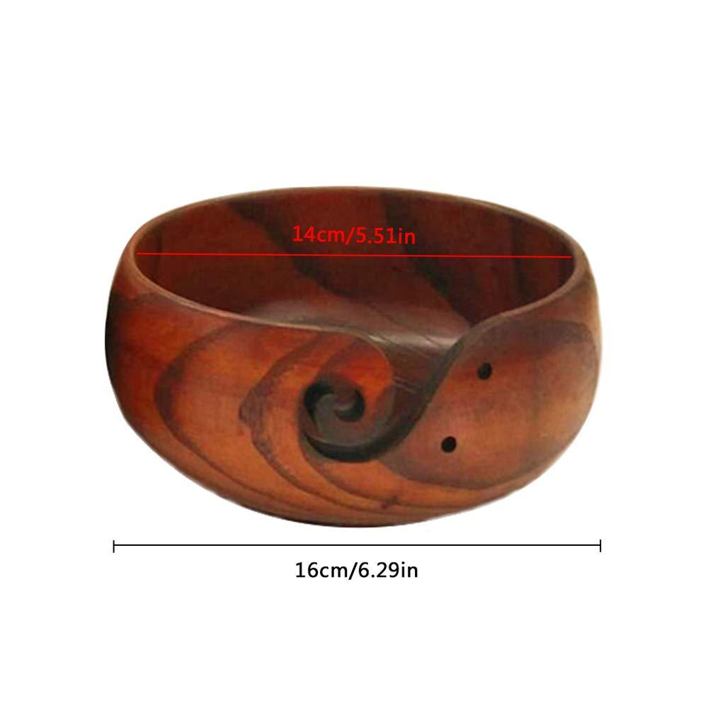 Organizador de cuenco de madera de lana ZZM hecho a mano con hilo de madera para tejer cuencos ganchillo soporte de hilo con agujeros tallados y taladrar accesorios de ganchillo para tejer 14-16cm