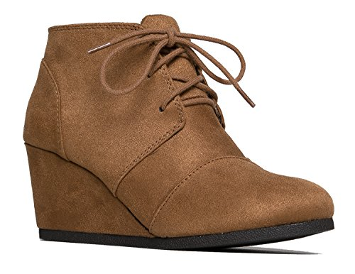(J. Adams Roxy Wedge Booties - Casual Lace Up Low Heel Closed Toe Ankle Boot)