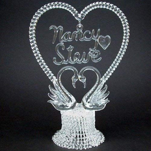 Personalized Wedding Cake Topper of Hand Blown Glass with Swans ()