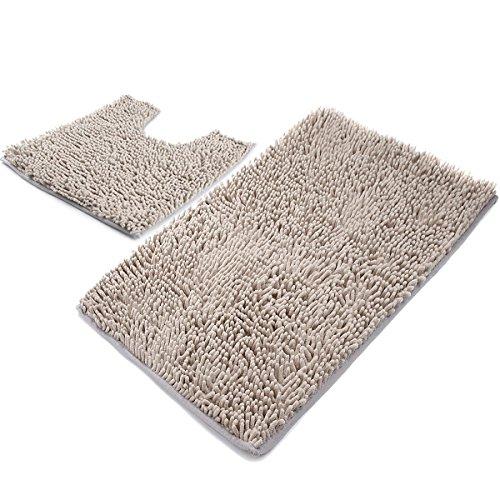 VDOMUS Microfiber Bathroom Contour Rugs Combo, Set of - Light Gray Bathroom Rugs