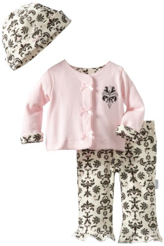 Vitamins Baby Baby-girls Newborn Dream Baroque 3 Piece Cardigan Pant Set