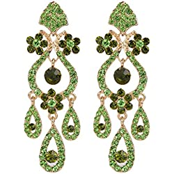 EVER FAITH Bridal Gold-Tone Flower Vase Chandelier Pierced Dangle Earrings Austrian Crystal Green