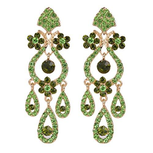 EVER FAITH Bridal Gold-Tone Flower Vase Chandelier Pierced Dangle Earrings Austrian Crystal Green