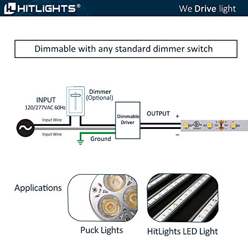 HitLights 60 Watt Dimmable Driver, Magnetic, for LED Light Strips - 110V AC-12V DC Transformer. Made in the USA. Compatible with Lutron and Leviton by HitLights (Image #5)