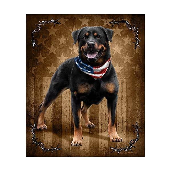 JQ Patriotic To The Bone Rottweiler Dog Signature Queen Blanket 1