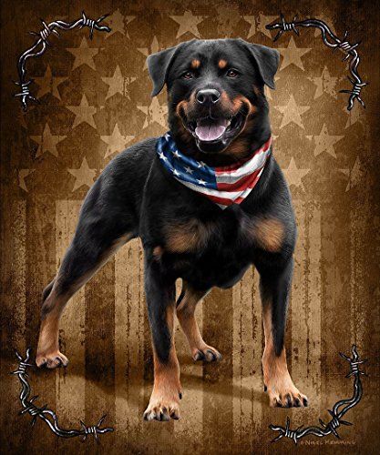 K2 JQ Patriotic To The Bone Rottweiler Dog Signature Queen Blanket