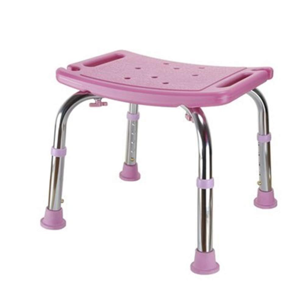 浴室滑り止めチェアシャワースツール高さ調節可能な厚さ耐久性滑り止め防水トイレ世帯高齢者身体障害者妊娠中の女性子供2色オプション (色 : ピンク) B07S3KTC4L ピンク