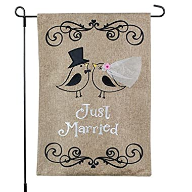 Just Married Banner, Garden Flag or Car Decoration - Bride and Groom Birds Design On Burlap Banner - 12x18 - Home Garden Flag
