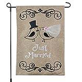 Just Married Banner, Garden Flag or Car Decoration – Bride and Groom Birds Design On Burlap Banner – 12×18 – Home Garden Flag For Sale