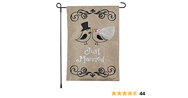 Glue onto Burlap Just Married Sign - Digital File Only burlap, lace and string not included Print and Cut Chalkboard Flags DIY