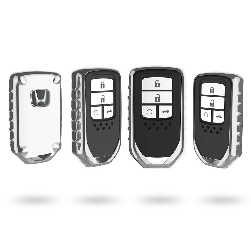 QIAOBA TPU Fall Car Key Soft Plating Protection Shell Case Cover for Honda Slivery