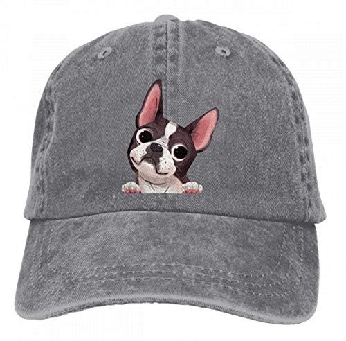Adults Boston Terrier Baseball Caps Peep Dog Denim Sport Bill Caps (Grey) (Terrier Womens Cap)