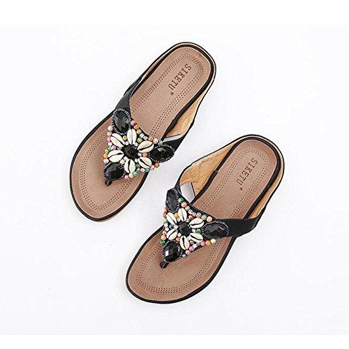 ZHIRONG Zapatillas de deporte de verano Bohemia suave abajo Moda Piedras de diamante de imitación con cuentas Pinch playa Sandalias ( Color : Azul , Tamaño : EU38/UK5.5/CN38 ) Negro