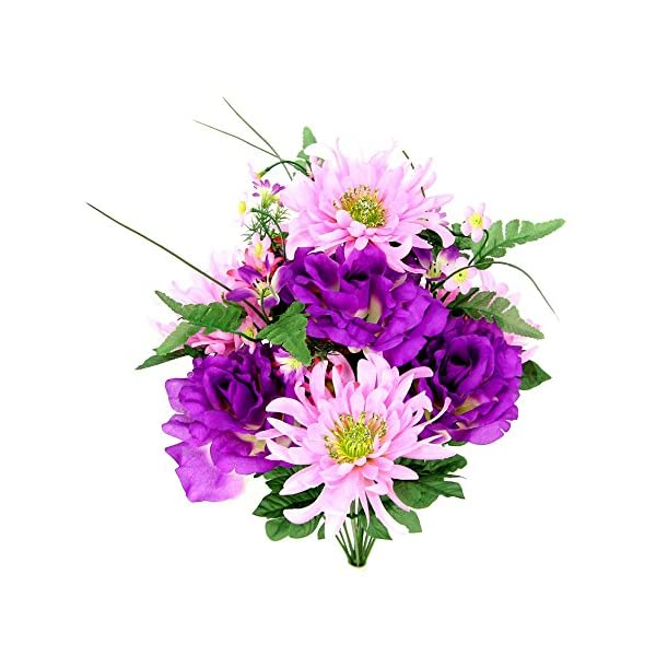 Admired By Nature 14 Stems Artificial Rose, Mum Flower with Greenery Foliage Mixed Bush for Home, Wedding, Restaurant & Office Decoration Arrangement, Pink/Lilac Mix, 2 Pieces