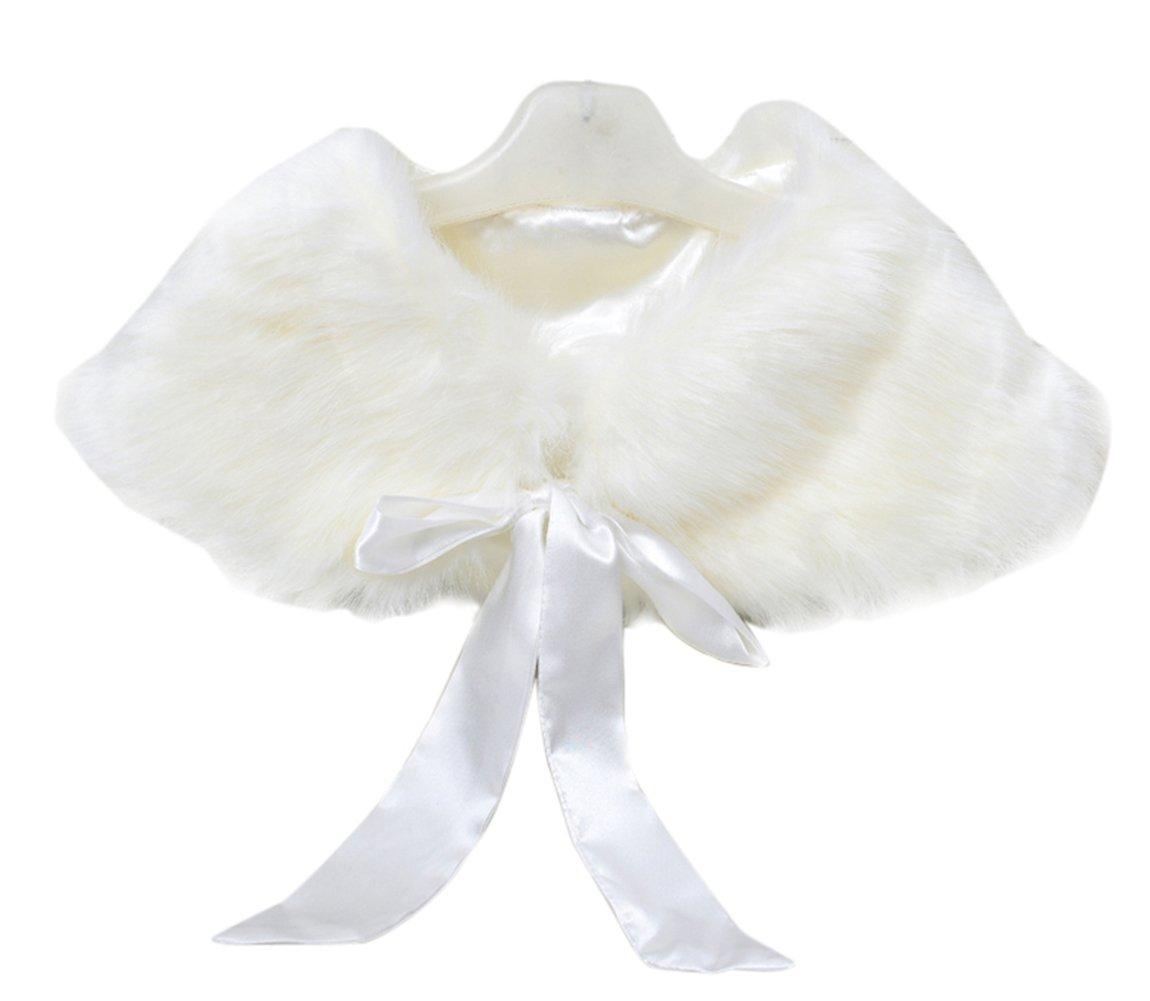 SK Studio Girls Princess Faux Fur Bolero Shoulder Cape Shawl Stole Shrug