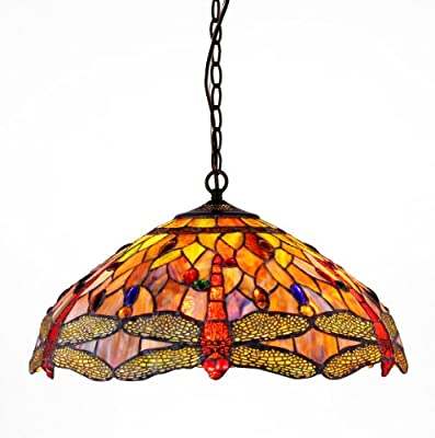 Chloe CH2825DB18-DH3 Tiffany-style Dragonfly 3-Light Ceiling Pendant Fixture, 18-Inch
