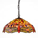 Chloe CH2825DB18-DH3 Tiffany-style Dragonfly 3-Light Ceiling Pendant Fixture - 18-Inch