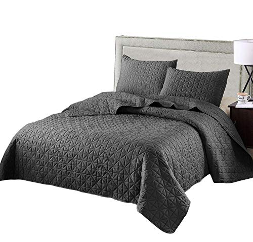 Exclusivo Mezcla 3-Piece Queen Size Quilt Set with Pillow Shams, as Bedspread/Coverlet/Bed Cover(Solid Steel Grey) - Soft, Lightweight, Reversible& Hypoallergenic