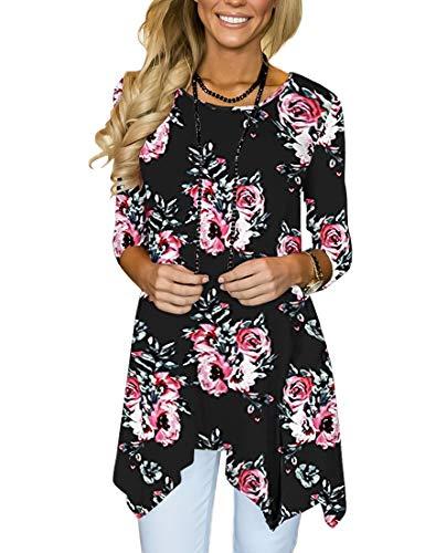 Sleeve Printed Tunic - MIROL Women's Spring Floral Print 3/4 Sleeve Irregular Hem Asymmetrical Tunic Loose Long Blouse Tops (Medium, Black Flower)