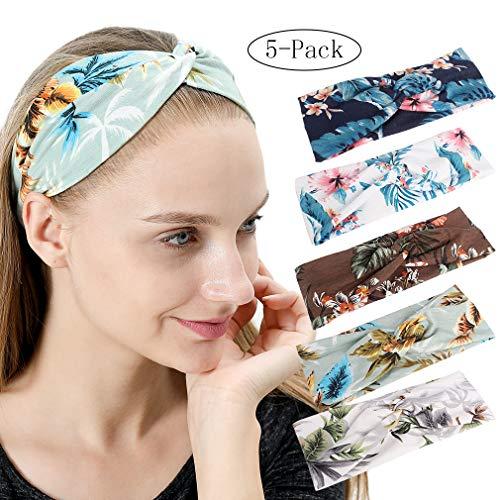 5 Pack Women's Twist Headband Elastic Boho Floral Print Hairband (Tropical Print)