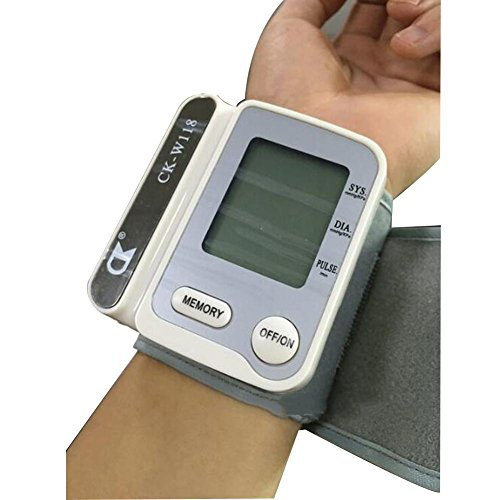 ZWW Wrist Blood Pressure Monitor and with Digital LCD Display for Home Use Electronic Sphygmomanometer , gray