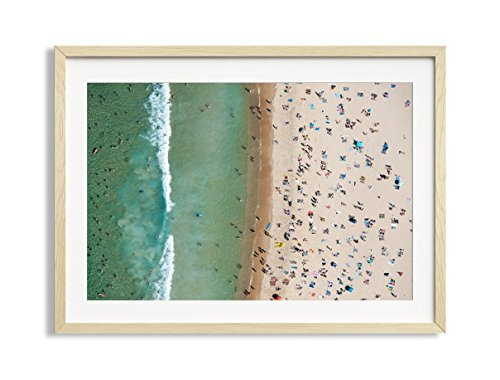 30x42'' Framed Extra Large ''Bondi Stripe'' Bondi Beach Australia Aerial Beach Photography Print by Daydrift