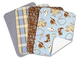 Trend Lab Set of 4 Burp Cloth, Cowboy Baby