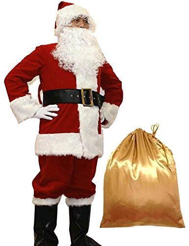 WHOBUY Men's Deluxe Santa Suit 10pc. Christmas Adult Santa Claus S Red -