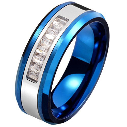 Men Women 8mm Blue Tungsten Carbide Ring Rectangle Cubic Zirconia Inlay Two-tone Wedding Engagement Band Size (Rectangle Two Tone Ring)
