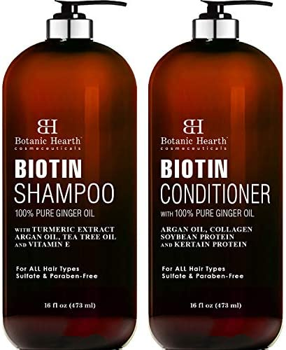 BOTANIC HEARTH Biotin Shampoo and Conditioner Set - with Ginger Oil & Keratin for Hair Loss and Thinning Hair - Fights Hair Loss, Sulfate Free, for Men and Women, (Packaging May Vary),16 fl oz. Each