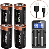 CR123A Lithium Batteries Rechargeable for Arlo Wireless Cameras [ Security Cameras ][ 4 Pack 3.7V Li-ion RCR123A ], Arlo Batteries Rechargeable with Charger, Tyrone Rechargeable RCR123 Batteries