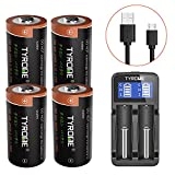 #10: CR123A Rechargeable Batteries, Tyrone 4 Pack 700mAH 16340 RCR123A 3.7V Lithium ion Camera Batteries for Arlo Wireless Security Cameras with Battery Charger