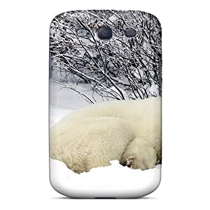 IELbzOl-6631 Case Cover Resting Polar Bear In Snow Galaxy S3 Protective Case