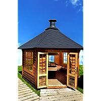 Junit Grillhütte braun groß Holz BBQ Hut
