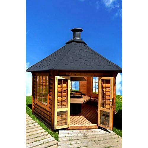 JUNIT Garten-Pavillon 149m mit Grill Grillhaus Partyhaus Partyhütte