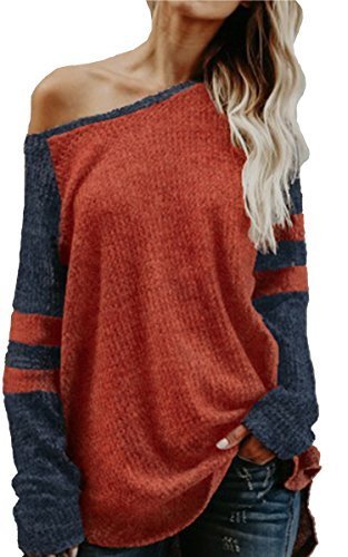 ECOWISH Womens Contrast Sleeves Striped Pullover Knit Sweater Loose Winter Tops Orange S - Knit Winter Sweater