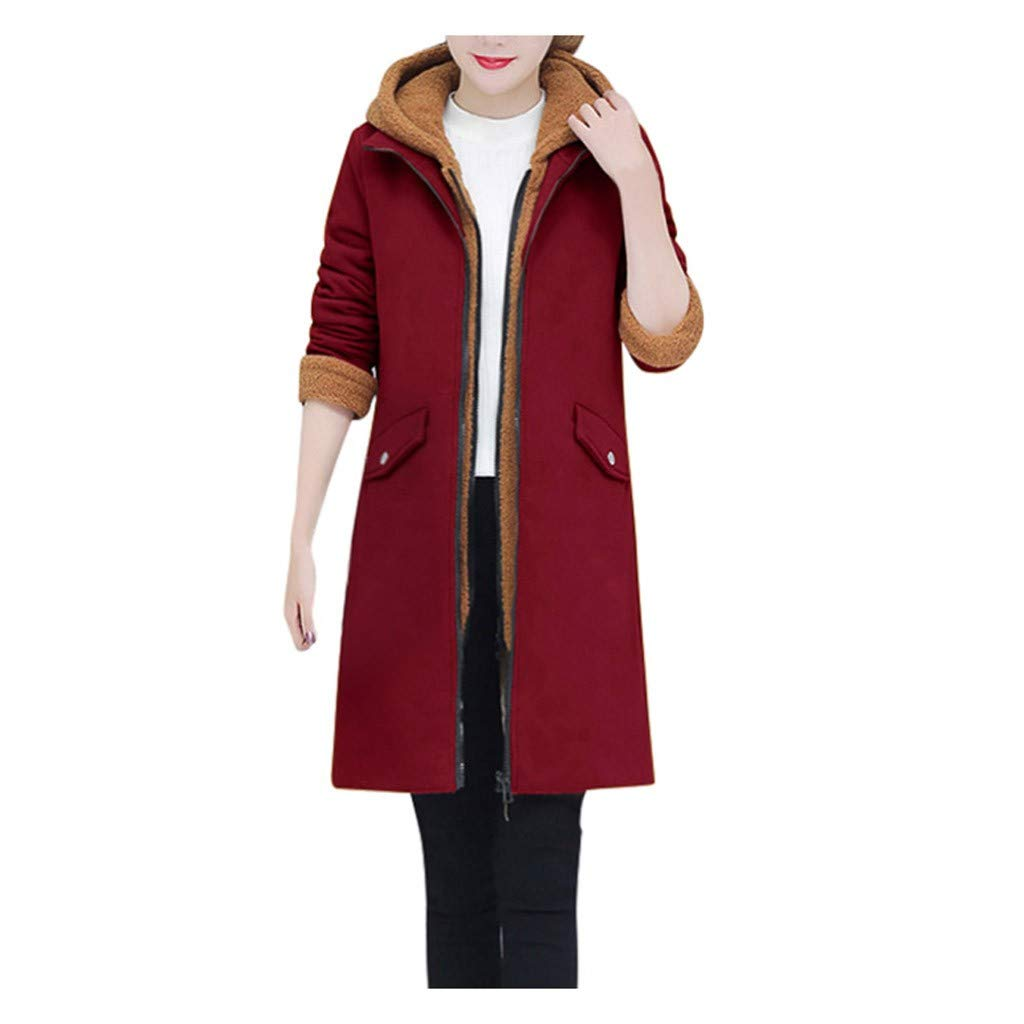 Dainzuy Women's Thicken Fleece Lined Parkas Hooded Warm Winter Cotton Padded Jackets Outwear Hooded Long Coat Wine by Dainzuy Womens Outerwear