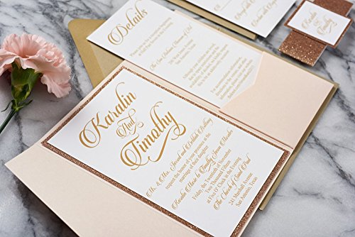 Custom Elegant Glitter Wedding Invitations in Pocketfold with RSVP and Envelopes, Karalin Sample