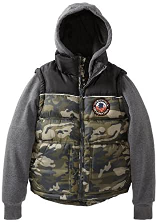 Weatherproof Big Boys' Bubble Vest with Attached Jersey Hood and Sleeves, Camo, 8