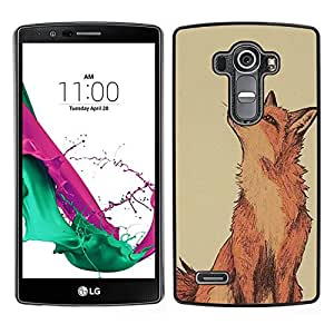 Design for Girls Plastic Cover Case FOR LG G4 Red Fox Clever Vignette Yellow Cute OBBA