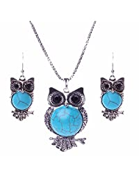 Qiyun Necklace Earring Set Owl Pendant Ancient Silver Retro Charm Chain Collier Hibou Charme D'Argent Collier
