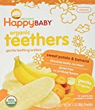 Happy Baby Organic Teethers, Banana and Sweet Potato, Gentle Teething Wafers, 12-1.7oz. Packets, Soothing Rice Cookies for Teething Babies, Dissolves Easily, Organic, No Gluten or Artificial Flavor